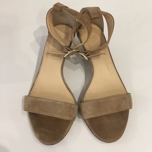 J. Crew Tan Suede Ankle Strap Low Wedge Sandals 7